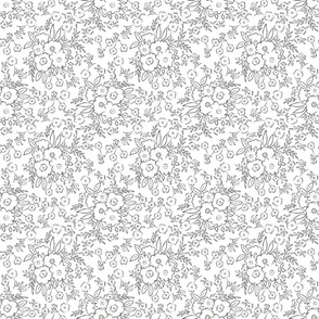 1B doodle flowers black and white youthful playful TerriConradDesigns