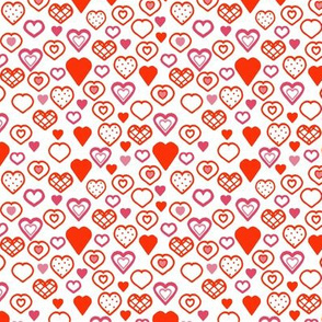 Red and Pink Doodle Hearts