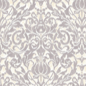 large ikat acanthus scroll in soft gray and cream