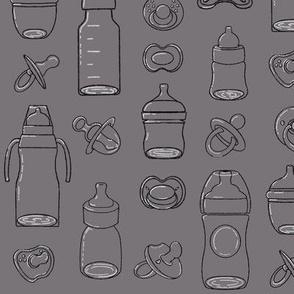 Bottles and Pacifiers Dark Grey