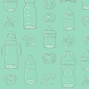 Bottles and Pacifiers Mint Green
