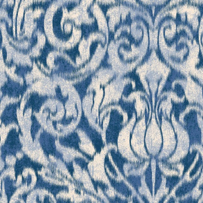 large ikat acanthus scroll on deep blue