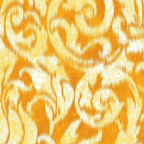 ikat acanthus scroll in sunny yellows large