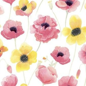 yellow and pink poppies