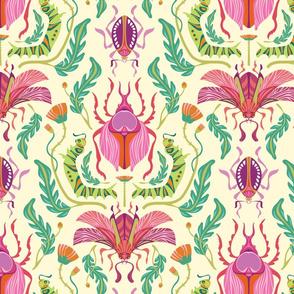 Damask Beetles Bright Warm {Wallpaper Size}