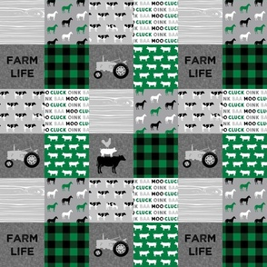 "(3"" scale) Farm Life - Patchwork wholecloth - grey and green C21"