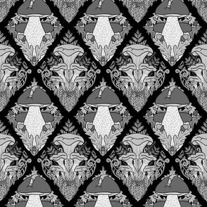 Fungi Damask Monochrome Black