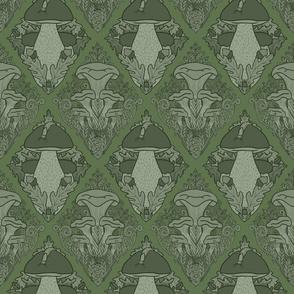 Fungi Damask Monochrome Green 1