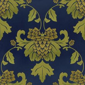 hops damask blue