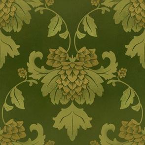 Hops damask green