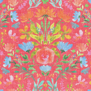 RK Designs Watercolour Damask Red
