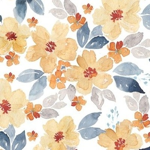yellow and navy watercolor flowers on white