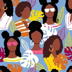 African American black women light blue