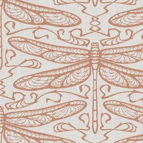 dragonfly damask (large, sienna)