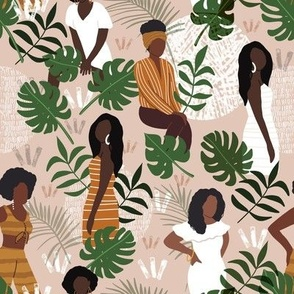 Black women with jungle leaves