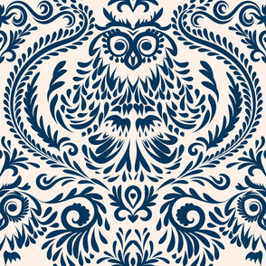 Owl_Damask Wallpaper