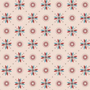 stars foulard red on pink medium