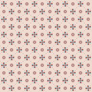 stars foulard red on pink small