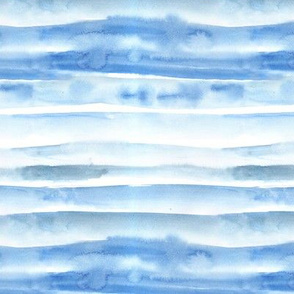 Baby blue watercolor painterly stripes - abstract hand painted textured stripe design for modern home decor_ bedding_ nursery