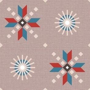 stars foulard red on reddish gray large