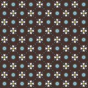 stars foulard blue on brown small
