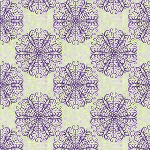 Small - Antler inspired Mandala on Scattered Plaid in Lime Green and Purple