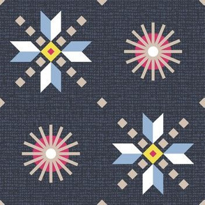 retro stars foulard on dark blue large