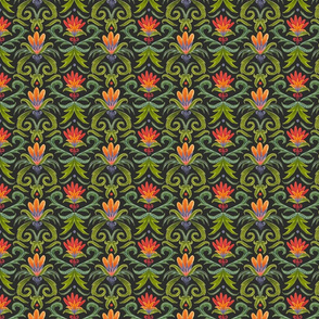 colorful floral damask
