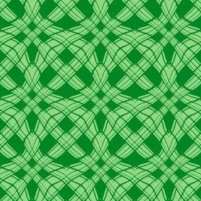 Woven Ribbon Trellis  in Two Tone Green