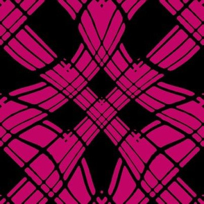 Large - Woven Ribbon Trellis in Hot Pink and Black