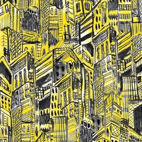 ILLUMINATED YELLOW GRAY CITY AT NIGHT