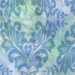 Blue Damask on Blue Green Sunprint Texture