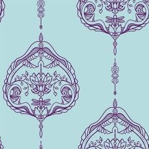 Elegant Purple Dragonfly Damask Crowns Mystical Blue