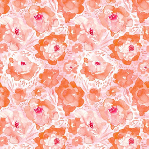 Rosy Floral Peach Medium Scale