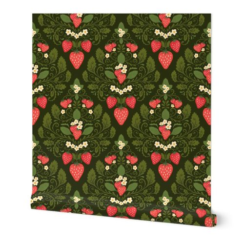 Strawberry Damask in Green and Red