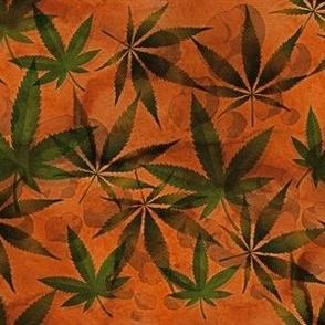 Marijuana Leaf on Brown Watercolor