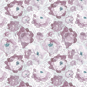 Rosy Floral Orchid Mauve Medium Scale