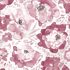Rosy Floral Dusty Rose Larger Scale