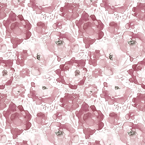 Rosy Floral Dusty Rose Medium Rose