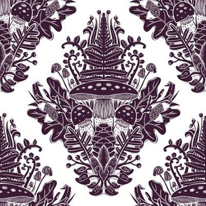 mysterious forest, damask