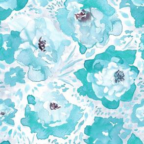 Rosy Floral Aqua Larger Print