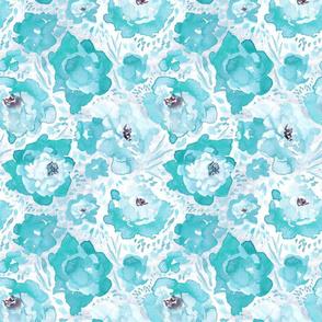 Rosy Floral Aqua Medium Print