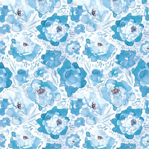 Rosy Floral Sky Blue Medium Scale
