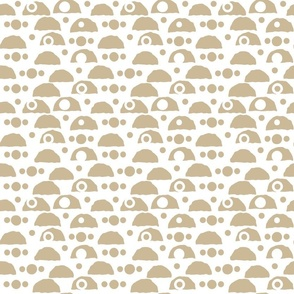 White and beige Seamless repeat pattern with small empty circles and jagged lines half a circle shape