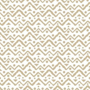 beige and white Seamless repeat pattern with jagged lines of triangles, broken lines and circles