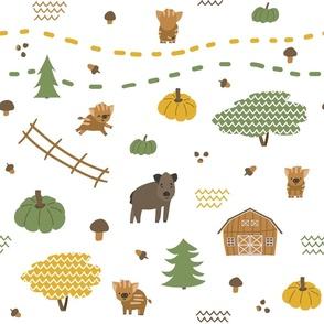 Autumn Seamless pattern of boar, piglets family