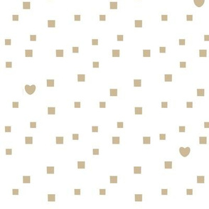 random uneven squares and small hearts shape on white background