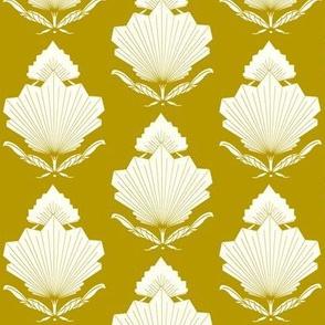 Fan Floral_Ochre/white