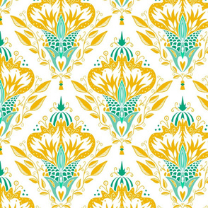 Fire Birds - Damascus in green and gold