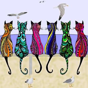 Boho Beach Cats Contemporary Quilt